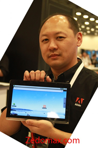 Adobe Flash and Air on a prototype Android tablet