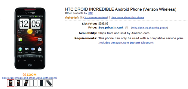 Amazon HTC Droid Incredible for $99