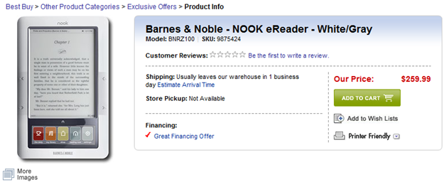 B&N Nook at Best Buy