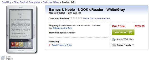 B&N Nook at Best Buy