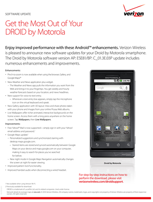 Verizon Motorola Droid 2.1 official update list