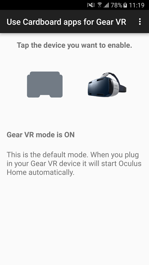 How to use cardboard apps on gear vr
